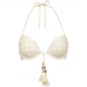 Watercult Beach Broderie Voorgevormde Halter Bikinitop Almond Milk