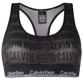 Calvin Klein Bralette met Logo Mesh Stof Zwart