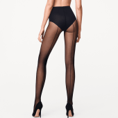 Wolford Control Top Back Seam Panty 10 Denier Black