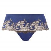 Wacoal Lace Affair String Blue Print / Chocolate Brown