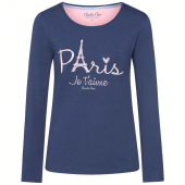 Charlie Choe Paris Mon Cherie Pyjamashirt met Lange Mouwen Blauw