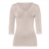 Hanro Woolen Lace 3/4 Sleeve Shirt Vanilla